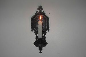 Vtg Black Gothic Medieval Iron Wall Sconce Candle Holder Castle Halloween Goth