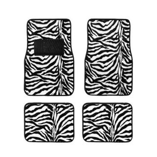 15pc Set Seat Cover Black White Zebra Animal Print Floor Mat Wheel Belt Head Pad