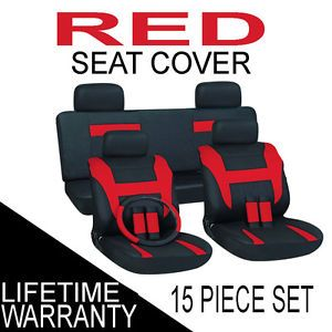 15pc Set Red Black Auto Car Seat Covers Free Steering Wheel Belt Pads Head Rests
