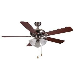 Hampton Bay Scottsdale 52 inch Ceiling Fan with Light Kit Brushed Nickel