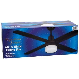 "New Wyndham House 4 Metal Blades 48"" Ceiling Fan Light Kit with Bulbs Fan Pull"
