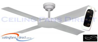 "Revolution Indoor Outdoor 52"" White Ceiling Fan Inc Remote Hunter Pacific"