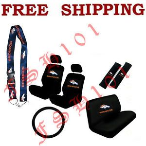 New NFL Denver Broncos Car Seat Covers Steering Wheel Cover Lanyard Set