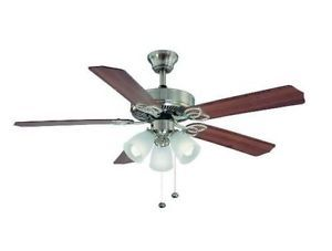 Hampton Bay Brookhurst 52 inch Ceiling Fan with Light Kit Brushed Nickel