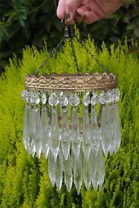 Vintage Chandeliers 1930's Crystal Glass Chandelier Art Deco Pendant Light Chic
