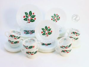 Vintage Christmas Dinnerware Set of 40 Dishes Holly Glass Retro White Green Red