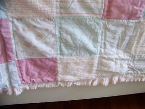 Fab Simply Shabby Chic Pink Roses Chenille Patchwork Quilt Bedspread Bedding