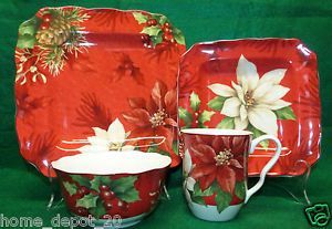 222 Fifth Poinsettia Holly Christmas Holiday 16 Pcs Dinnerware Set Service 4 New