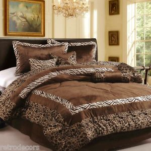 7pc New Luxury Faux Fur Safarina Brown Coffee Zebra Animal Queen Comforters Sets