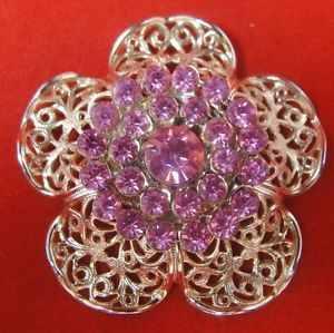 "Vintage 2"" Gold Filigree Pink Crystal Glass Stone Rhinestone Flower Brooch Pin"