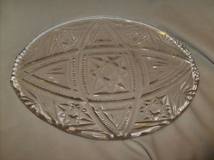 Fabulous Heavy Oval Shaped Crystal Glass Plate