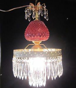 Fenton Cranberry Brass Glass Crystal Lamp Chandelier