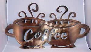 Coffee Cups Metal Wall Art Piece