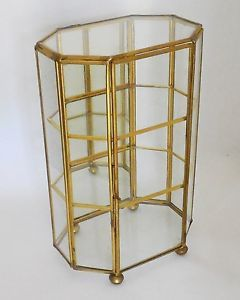 Vtg Brass Glass Mirror Table Top Curio Small Display Cabinet Case Shelf Interpur