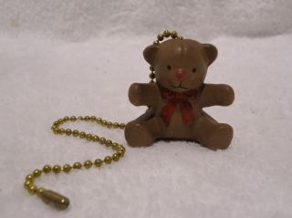 "10 1 2"" Ceramic Teddy Bear Brown with Red Bow Tie Handmade Ceil"