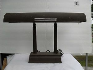Vintage Industrial Cast Iron Art Deco Table Desk Lamp Fluorescent Works Nice