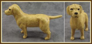 Golden Labrador Retriever Dog Cast Iron Doorstop Bank Statue Yellow Lab