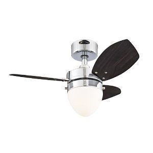 Wengue Two Light 30 Inch Reversible Three Blade Indoor Ceiling Fan