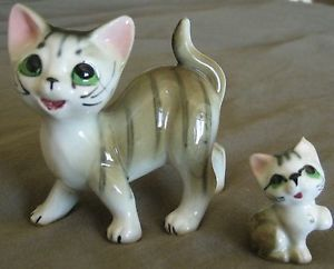 Vintage Grey Striped Tabby Cat Kitten Porcelain Figurines
