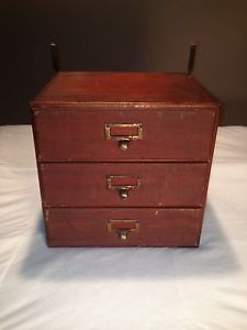 Vintage Antique Wood 3 Drawer File Cabinet Macey Dovetail Box