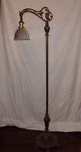 "Art Nouveau Bridge Arm Floor Lamp w Holophane Art Glass Shade 2180 57"" Height"
