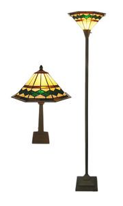 Stained Glass Mission Style Table Floor Lamp Pair