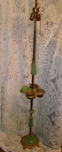 Vintage Art Deco Jadeite Brass Floor Lamp Smoking Stand