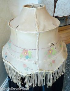 Antique Art Deco Floor Lamp Fabric Shade Form Intact Fringe Slag Glass Lamp