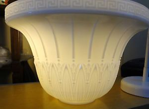 "196 Vtg Large 12"" Torchiere Art Deco Milk Glass Lamp Diffuser Shade Floor Lamp"