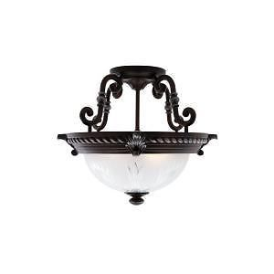 Hampton Bay Bercello Estates 2 Light Volterra Bronze Semi Flush Mount 115429
