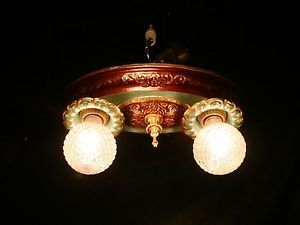 Antique Vintage Art Deco Victorian 2 Light Ceiling Fixture Restored Flush Mount