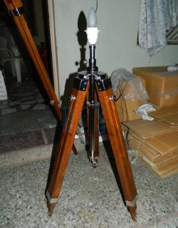 Set of 3 Designer Tripod Floor Lamp Teak Chrome Tripod Floor Lamp Light