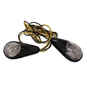 Tusk Universal Flush Mount LED Turn Signals Pair Clear Lens Blinker Motorcycle