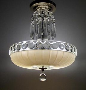Vintage Art Deco Semi Flush Mount Glass Shade Ceiling Light Fixture Chandelier