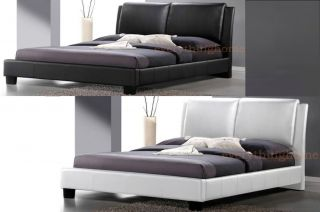 Modern White Black Faux Leather Upholstered Headboard Double Full Platform Bed