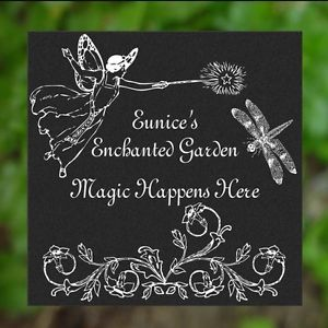 Customized Personalized Garden Stepping Stone Plaque Sign Fairy Dragonfly Decor