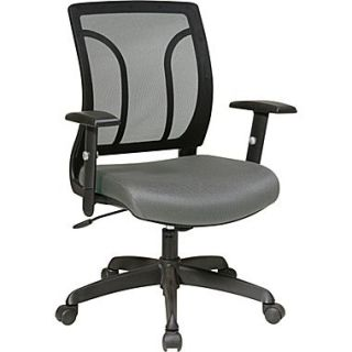 Office Star Fabric Screen Back Chair with Mesh Seat and Height AdjusTable Arm, Gray