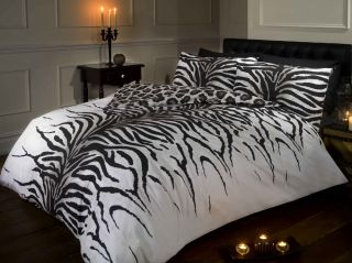 Zebra Leopard Makumi Animal Print Duvet Cover Bed Sets Black White 3 Sizes