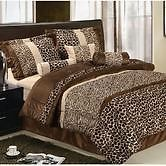 Safari Zebra Animal Print Brown Faux Fur Queen Comforter Set Bed in A Bag Lodge