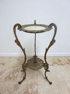 Antique Victorian Pierce Carved Cast Bronze Marble Lamp End Table Pedestal