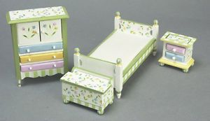 Dollhouse Miniature Furniture Child Kids Nursery Baby Room Set Bed Dresser New