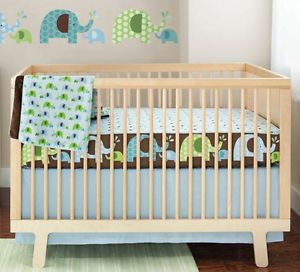 Skip Hop Complete Sheet 4 PC Bumper Free Baby Crib Bedding Set Elephant Parade