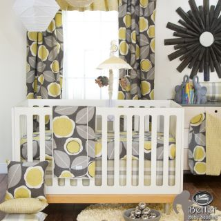 Glenna Jean Baby Neutral Yellow Grey White Simple Crib Nursery Quilt Bedding Set