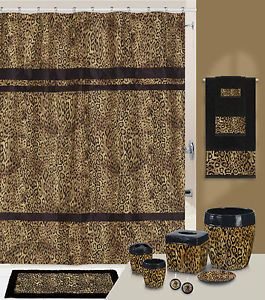 Safari Style Brown Leopard Print Bath Accessories Bathroom Collection Choice