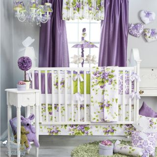 Glenna Jean Baby Girl Bright Purple Green Floral Crib Nursery Bedding Quilt Set