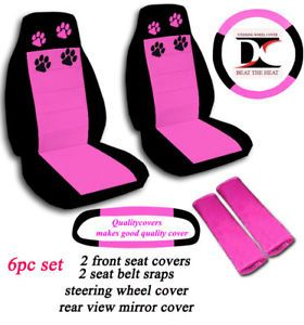 Car Seat Covers 6 Pcs Set Black and Pink Paw Prints Jeep Wrangler