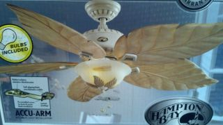 "Carved Wood Blades Antique Vanilla Hampton Bay 56"" Ceiling Fan w Light Kit"