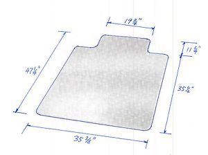 "New PVC Chair Mat 47"" x 35"" with Lip for Carpet 2 0mm Thick"