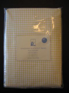 "2 x Pottery Barn Kids Yellow Gingham Blackout Lined Panels Curtains 63"" New"