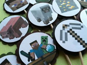 Minecraft Steve Creeper Birthday Cupcake Toppers Decoration Party Favor Supply